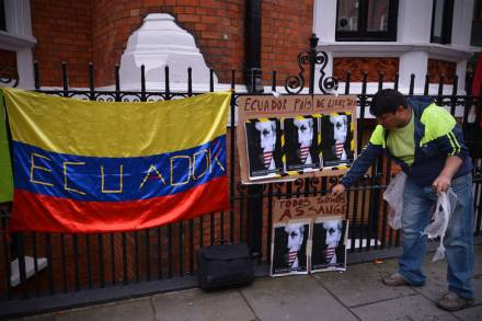 Assange placards at the Ecuador Embassy in London