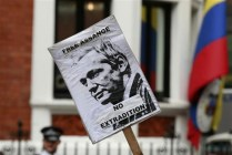 Assange Support Protest at Ecuador Embassy in London